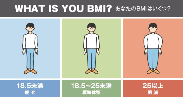 18.5未満 痩せ 18.5~25未満 標準体型 25以上 肥満