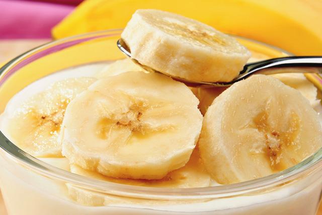 バナナが入ったヨーグルト